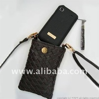 WEAVING LEATHER EMBOSSED PHONE BAG/ Mobilephone Pouch Phone Clutch