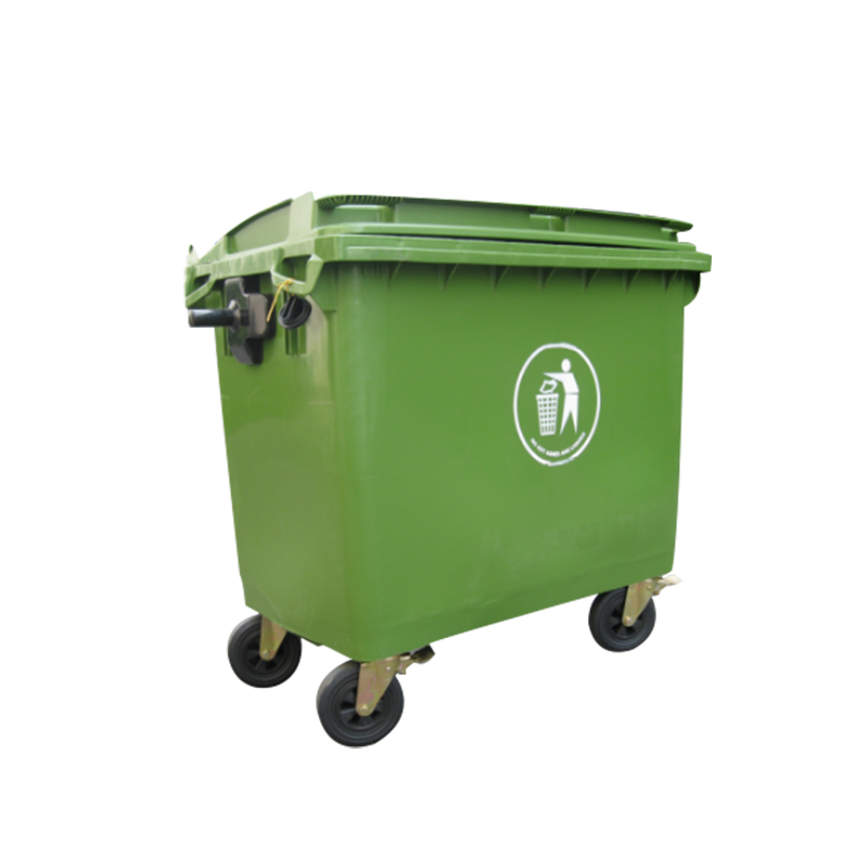 China large size 1100L plastic garbage bin with four wheels