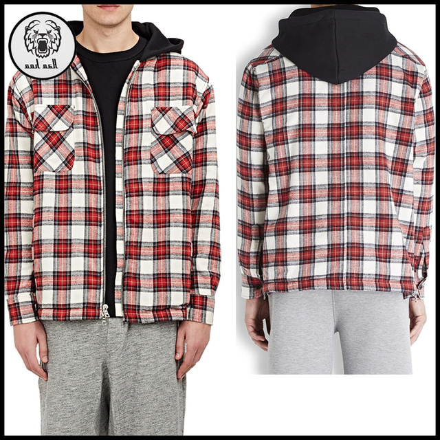 Custom Plain 100% Cotton Red Flannel Zip Up Hoodies With Chest Pocket