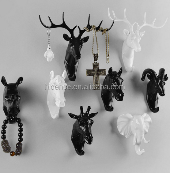 Black and Polyresin animal head hanger hook wall decoration coat hanging