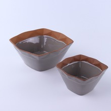 Terracotta stoneware ceramic soup sugar bowls with spoon plate