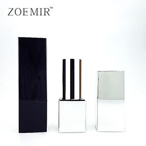 Custom made shiny silver lipstick tube plastic black square magnetic lipstick case makeup tube