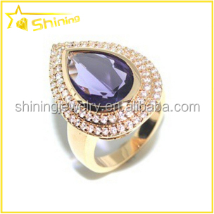 Guangzhou shining brass with gold plated pear shaped vogue jewelry wedding rings