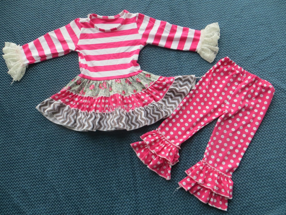 YJ-236 Latest pink polk dot and strip pattern girl long sleeve cake dress outfits kids ruffle pants outfits with simple frocks