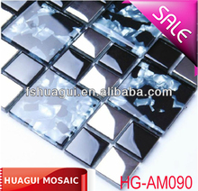 villa interior wall decorative material stainless steel mixed paper glass mosaic tile