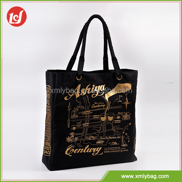 New style durable shopping tote bag cotton canvas with ropes