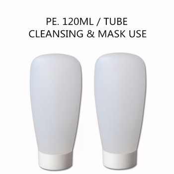 120ML Clear Plastic PE Tube Packaging Container With White Screw Cap and Tip