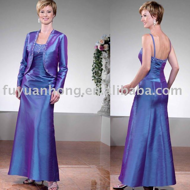 taffeta spagtetti strap with jacket dresses for brides mother /FYH-MD00005