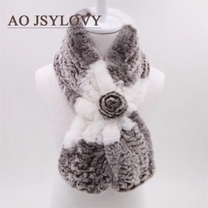 Wholesale Simple Style Collar Factory Winter Women Chinchilla Fur Scarf