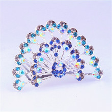 Hot sale beauty girl crowns and tiaras with bright rhinestones decorative peacock kid hair accessory