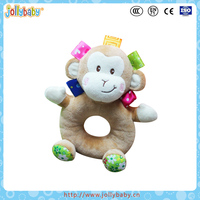 Jollybaby high quality colorful plush toy monkey stuffed farm animal toys for baby, baby's favourite rattle squeaky toy