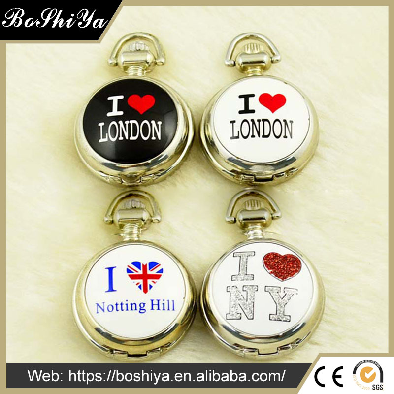 I love London variety of colored enamel quartz pocket watch built-in mirror Notting Hill love Bai Gang Wall charts