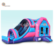 hot sale inflatable combo jumping cheap bounce houses with slide and tennis with air blower G3004