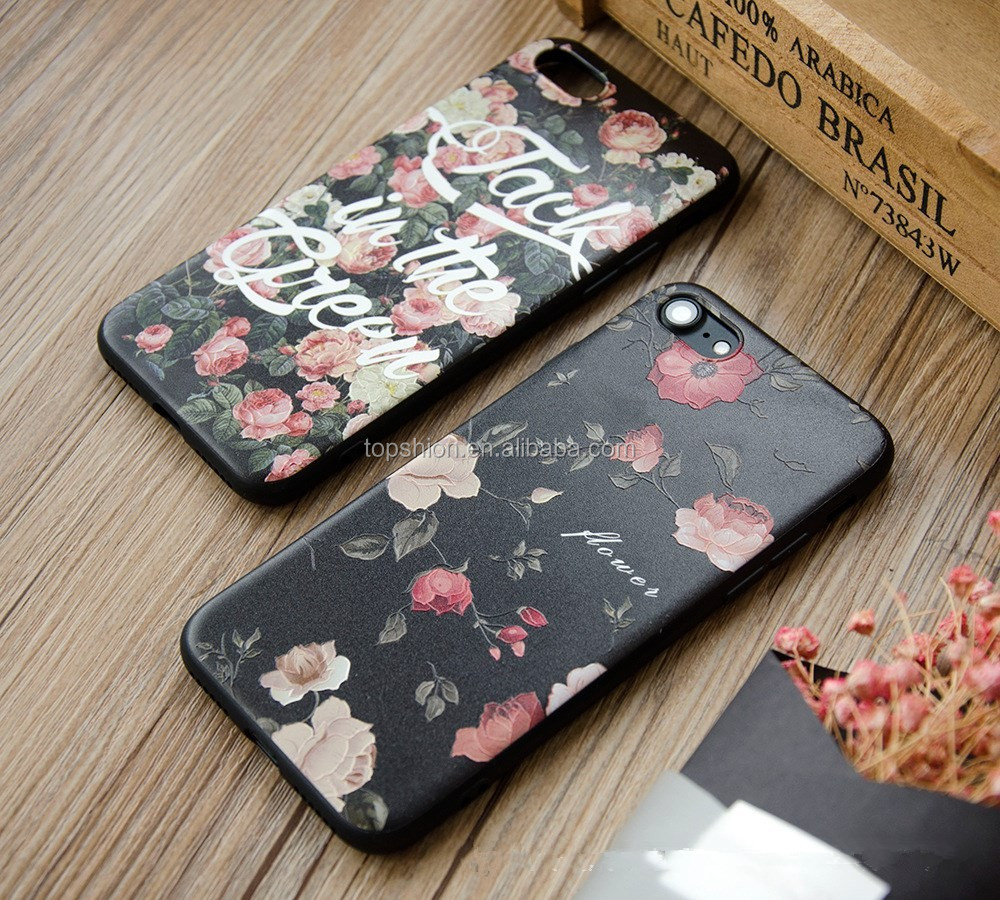 Stylish Design TPU Protective Back Phone Case for iPhone 7 Case Flowers Pattern