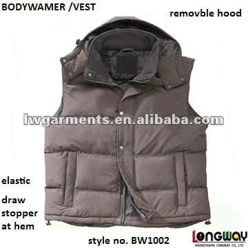 100% POLYESTER WINTER BODY WARMER VEST/ OUTDOOR PADDING WAISTCOAT VEST WITH HOOD
