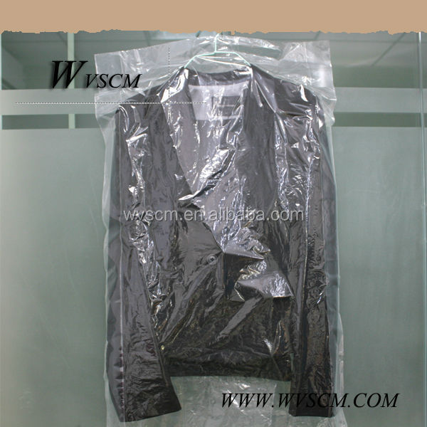 Good quality disposable LDPE clear suit storage bag on roll with custom printing for dry cleaning shop packing clothes