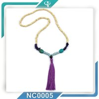 2016 Custom Blue Turquoise Bead Wooden Beads Purple Tassel Necklace
