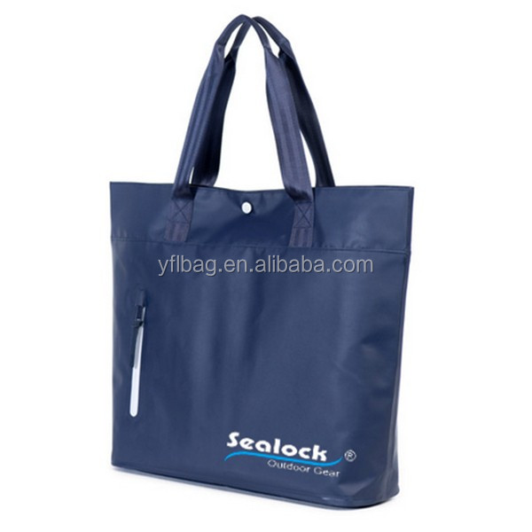 custom logo waterproof pvc dry tote bag as shopping bag