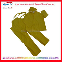water proof rain suit/yellow pvc polyester rain suits
