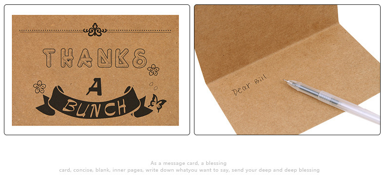 High quality folded paper kraft thank you card with envelope