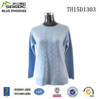 BLUE PHOENIX round neck long sleeve loose stylish light bule plain sweater