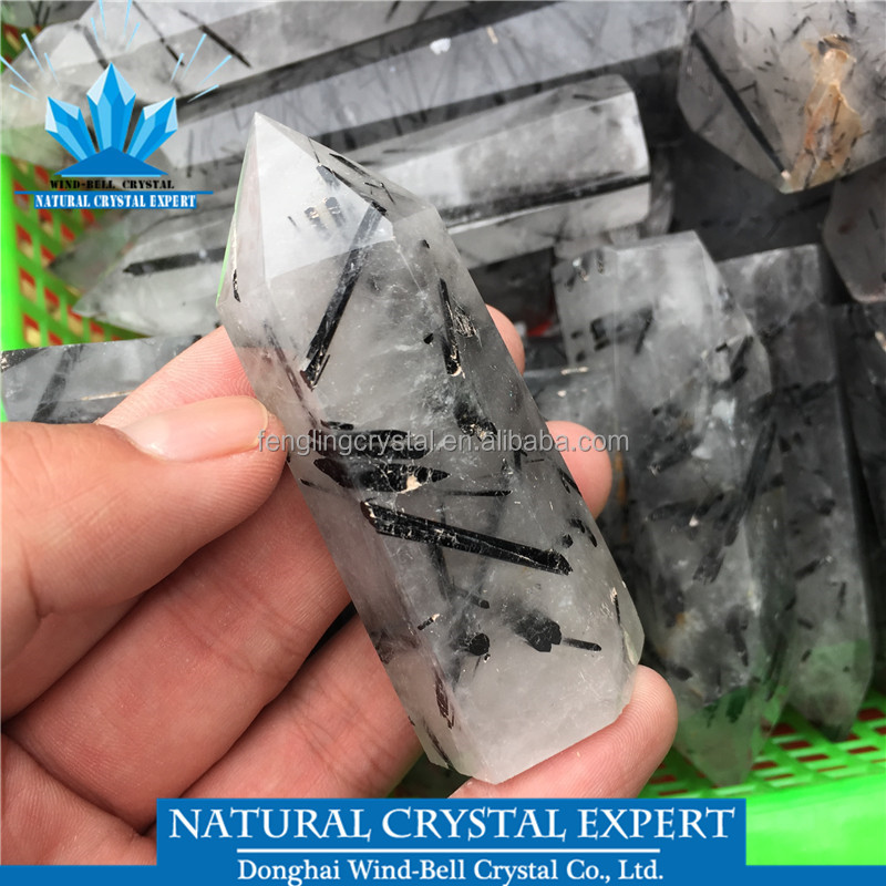 Hot Sale Natural Black Quartz Rutilated Points Wands Black Hair Crystal Wand