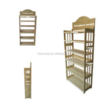 Good quality custom wooden bakery retail 6 tier bamboo bread display rack