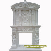 exquisite design white french marble fairy flower carving fireplace mantel