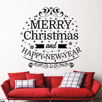 C011 Merry Christmas And Happy New Year Removable Home Vinyl Window Wall Stickers Decal Art Glass Shop Home Decor