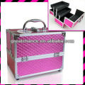 METALLIC PINK FAUX LEATHER ALUMINIUM MAKE UP COSMETIC VANITY CASE BEAUTY BOX