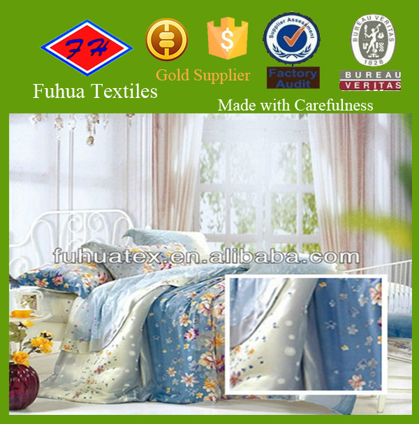 wholesale 100 polyester peach skin printed fabric for making bed sheets