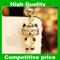 New Arrival Bling Cat diamond Earphone dust Plug Stopper Cap for iphone,for htc,for samsung mobilephone Crystal Rhinestone