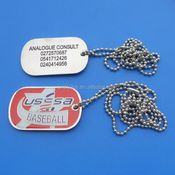 hot sale USA baseball design both sides logo ball chain man's dog tag
