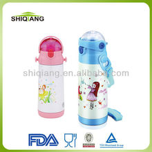 Hot sale lovely double wall s/s vacuum sports water bottles with strap and straw for kids