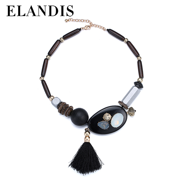 E-ELANDIS Wood resin necklaces black resin crystal choker necklace new wooden bead tassel pendant necklace NL13554