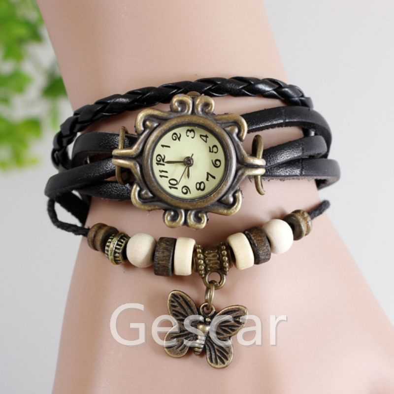 Hot selling Butterfly Pendant Watch Vintage Genuine Leather Watch Retro Design Wrist Quartz Watch 10 Colors Available