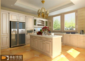 newest foshan modern style Solid wood kitchen cabinet for home or project