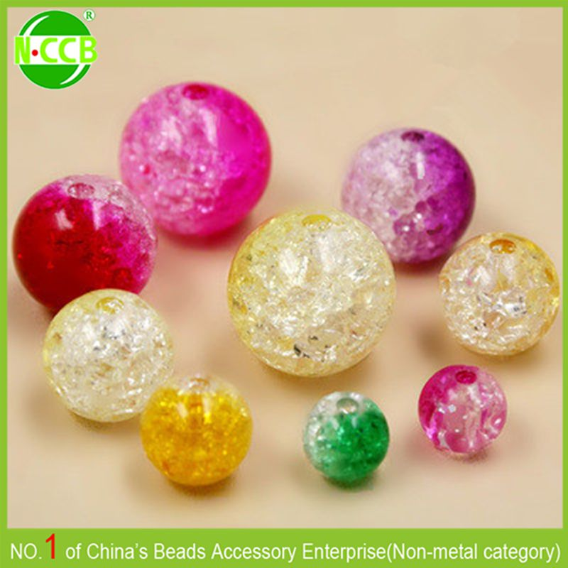 China Wholesale Colorful Cracked Round Crystal Bead In Bulk
