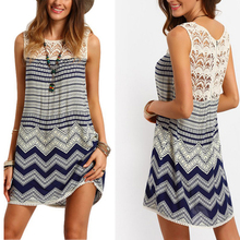 Philippines Fashion Lady Sleeveless Casual Dress Hollow Out Lace Dress