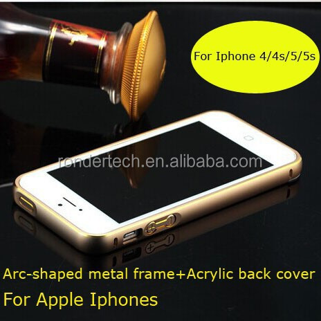 Arc-shaped metal frame +acrylic PC back cover case for apple iphones phone case for iphone 4/4s/5/5s