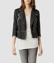 womens cropped cargo leather biker jacket