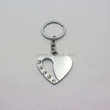 romantic sweet heart metal keychain with crystal
