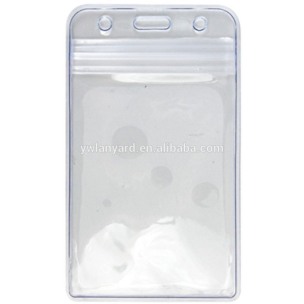 Heavy duty quality Vinyl clear badge holder with zip lock waterproof
