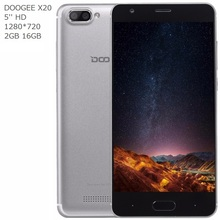 China DOOGEE X20 3G Mobile Phone Android 7.0 2GB RAM 16GB ROM QuadCore Smartphone 720P Dual Back Camera 5.0 inch Cell Phone