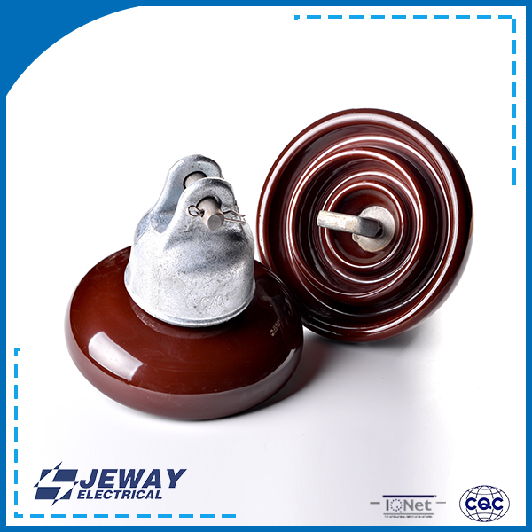 Disc suspension series insulator with clevis and tongue end fitting