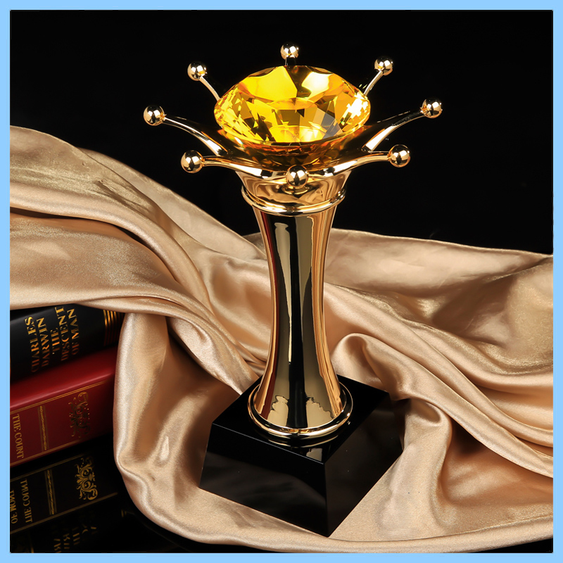 Resin Golden Long crown above yellow crystal diamonds statue Trophy for award