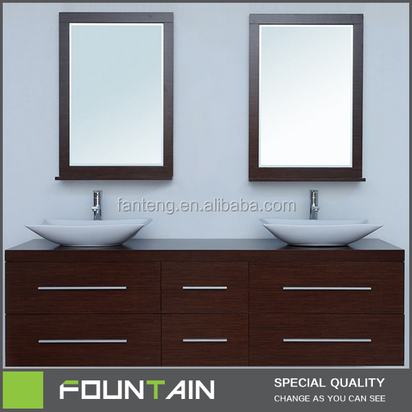 "Wall Mounted Bathroom Cabinets Vendor 60"" Double Sink Vanity with Two Mirrors"