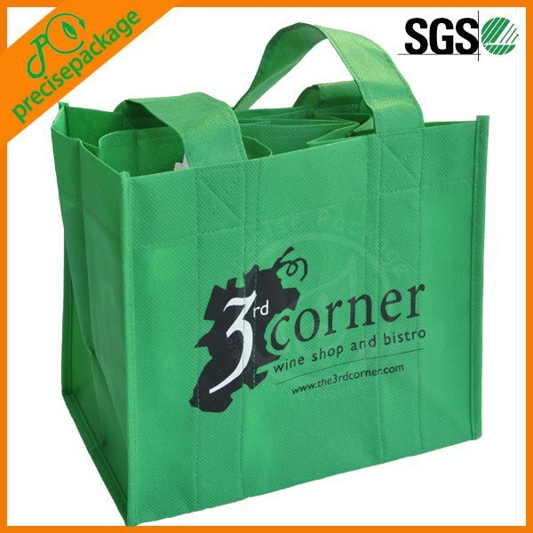 Customized Cheap Green Non Woven Wine Bag for grocery