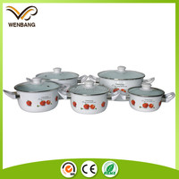porcelain enamel casseroles cookware sets with glass lid