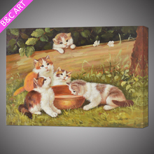 Cute cat design animal framed easy oil painting pictures for kids bedroom
